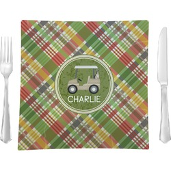 "Golfer's Plaid Glass Square Lunch / Dinner Plate 9.5"" - Single or Set of 4 (Personalized)"