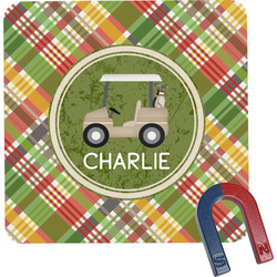 Golfer's Plaid Square Fridge Magnet (Personalized)