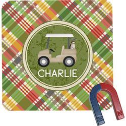 Golfer's Plaid Square Fridge Magnet (Personalized)