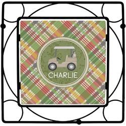 Golfer's Plaid Square Trivet (Personalized)
