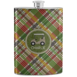Golfer's Plaid Stainless Steel Flask (Personalized)