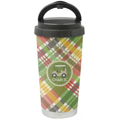 Golfer's Plaid Stainless Steel Coffee Tumbler (Personalized)