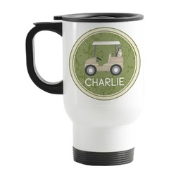 Golfer's Plaid Stainless Steel Travel Mug with Handle