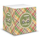 Golfer's Plaid Sticky Note Cube (Personalized)