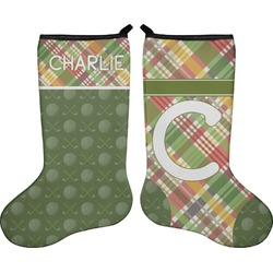 Golfer's Plaid Holiday Stocking - Double-Sided - Neoprene (Personalized)