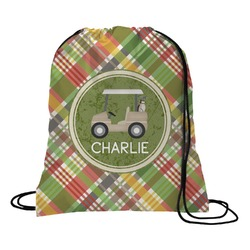 Golfer's Plaid Drawstring Backpack (Personalized)