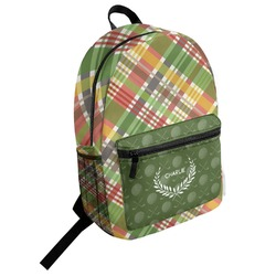 Golfer's Plaid Student Backpack (Personalized)