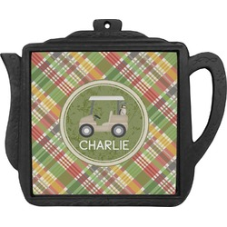 Golfer's Plaid Teapot Trivet (Personalized)