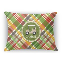 "Golfer's Plaid Rectangular Throw Pillow - 18""x24"" (Personalized)"