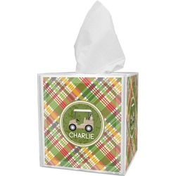 Golfer's Plaid Tissue Box Cover (Personalized)