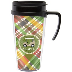 Golfer's Plaid Travel Mug with Handle (Personalized)