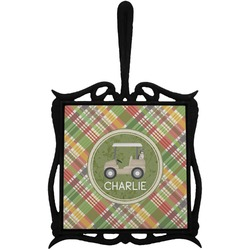 Golfer's Plaid Trivet with Handle (Personalized)