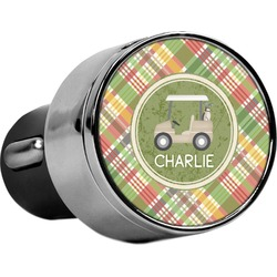 Golfer's Plaid USB Car Charger (Personalized)
