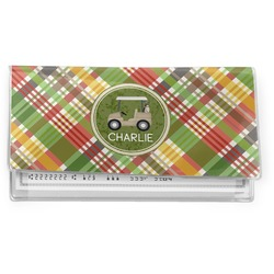 Golfer's Plaid Vinyl Check Book Cover (Personalized)