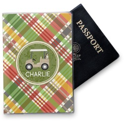 Golfer's Plaid Vinyl Passport Holder (Personalized)