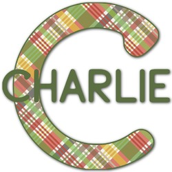 Golfer's Plaid Name & Initial Decal - Custom Sized (Personalized)