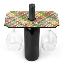 Golfer's Plaid Wine Bottle & Glass Holder (Personalized)