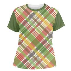 Golfer's Plaid Women's Crew T-Shirt (Personalized)