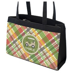 Golfer's Plaid Zippered Everyday Tote (Personalized)