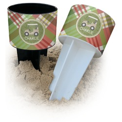 Golfer's Plaid Beach Spiker Drink Holder (Personalized)