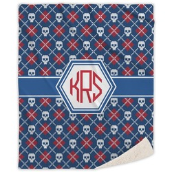 Knitted Argyle & Skulls Sherpa Throw Blanket (Personalized)
