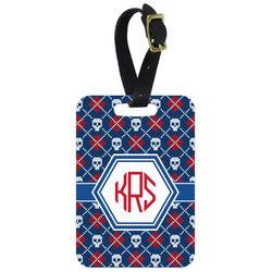 Knitted Argyle & Skulls Aluminum Luggage Tag (Personalized)