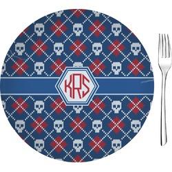 "Knitted Argyle & Skulls 8"" Glass Appetizer / Dessert Plates - Single or Set (Personalized)"