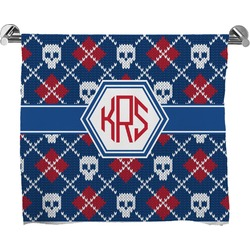 Knitted Argyle & Skulls Full Print Bath Towel (Personalized)