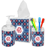 Knitted Argyle & Skulls Bathroom Accessories Set (Personalized)