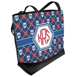 Knitted Argyle & Skulls Beach Tote Bag (Personalized)