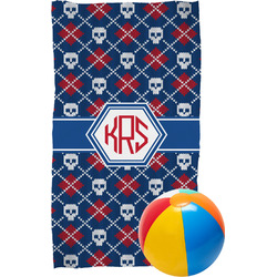 Knitted Argyle & Skulls Beach Towel (Personalized)