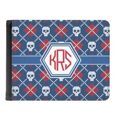 Knitted Argyle & Skulls Genuine Leather Men's Bi-fold Wallet (Personalized)