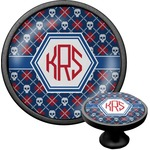 Knitted Argyle & Skulls Cabinet Knob (Black) (Personalized)