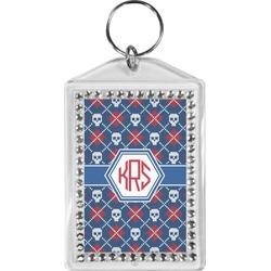 Knitted Argyle & Skulls Bling Keychain (Personalized)