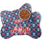 Knitted Argyle & Skulls Bone Shaped Dog Food Mat (Personalized)