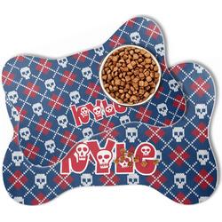 Knitted Argyle & Skulls Bone Shaped Dog Food Mat (Personalized)