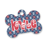 Knitted Argyle & Skulls Bone Shaped Dog Tag (Personalized)