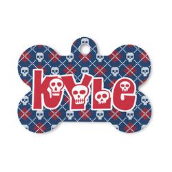 Knitted Argyle & Skulls Bone Shaped Dog Tag (Personalized)