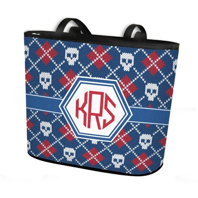 Knitted Argyle & Skulls Bucket Tote w/ Genuine Leather Trim (Personalized)