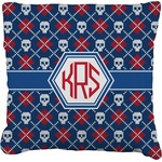 Knitted Argyle & Skulls Faux-Linen Throw Pillow (Personalized)