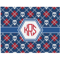 Knitted Argyle & Skulls Woven Fabric Placemat - Twill w/ Monogram