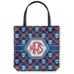 Knitted Argyle & Skulls Canvas Tote Bag (Personalized)