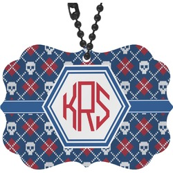 Knitted Argyle & Skulls Rear View Mirror Decor (Personalized)