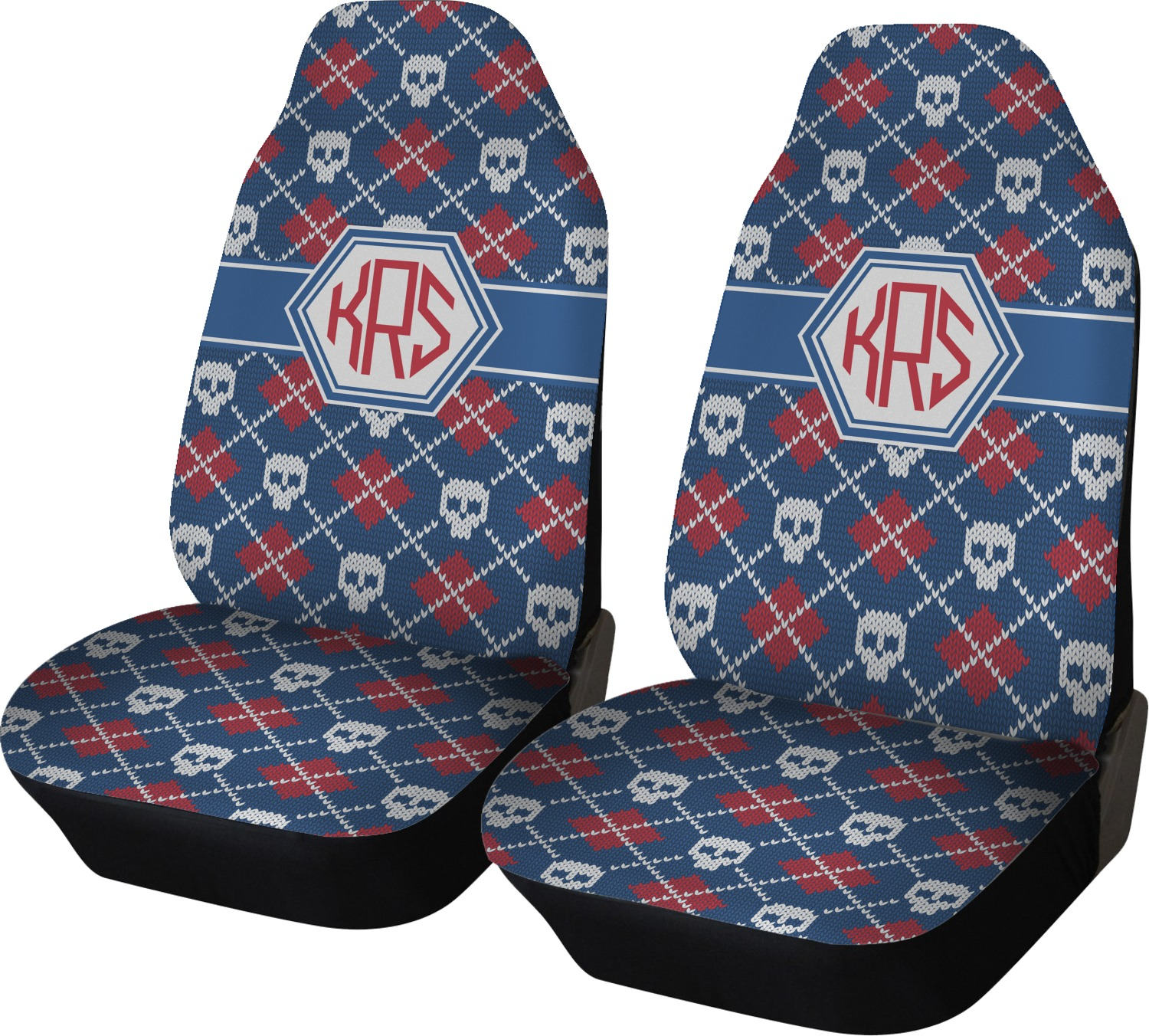 Knitted Argyle Skulls Car Seat Covers Set Of Two Personalized
