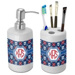 Knitted Argyle & Skulls Bathroom Accessories Set (Ceramic) (Personalized)
