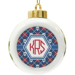 Knitted Argyle & Skulls Ceramic Ball Ornament (Personalized)