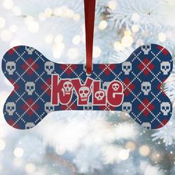 Knitted Argyle & Skulls Ceramic Dog Ornaments w/ Monogram