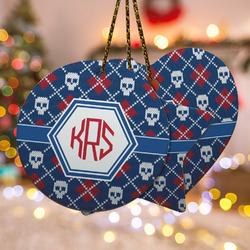 Knitted Argyle & Skulls Ceramic Ornament - Double Sided w/ Monogram