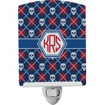 Knitted Argyle & Skulls Ceramic Night Light (Personalized)