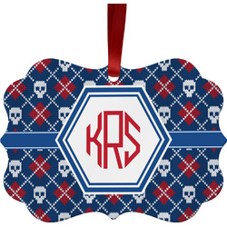 Knitted Argyle & Skulls Ornament (Personalized)